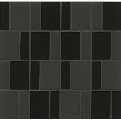 Remy Glass Mosaic Brick Tile in Black