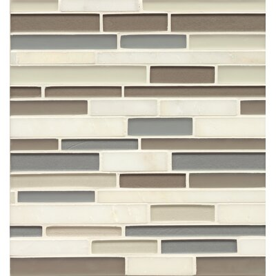 "Remy Glass 12"" x 13"" Stone/Glass Mosaic Random Interlocking Blends in Lacey"