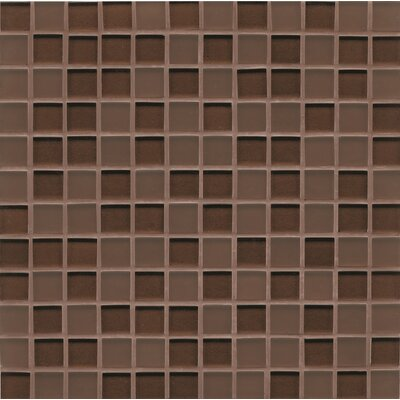 "Remy Glass 12"" x 12"" Glass Mosaic 1x1 Mesh Mounted Tile in Bronze"