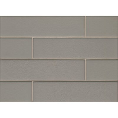 "Remy Glass 4"" x 16"" Glass Field Tile Matte in Silver"