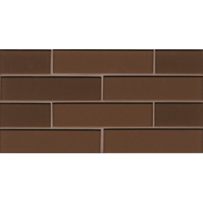 "Remy Glass 8"" x 16"" Glass Mosaic 2x8 Gloss Mesh Mounted Tile in Bronze"