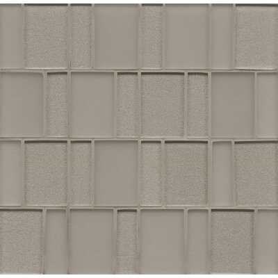 "Remy Glass 12"" x 12"" Glass Mosaic Brick in Silver"