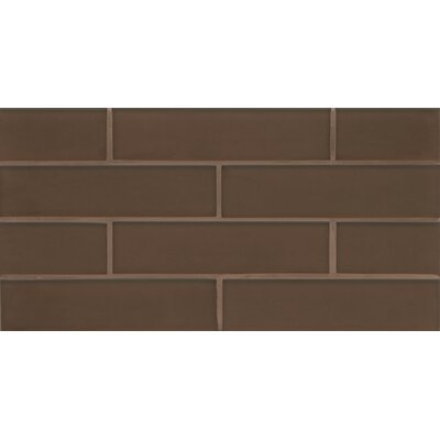 "Remy Glass 8"" x 16"" Glass Mosaic 2x8 Matte Mesh Mounted Tile in Bronze"