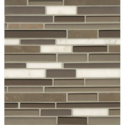 "Remy Glass 12"" x 13"" Stone/Glass Blends Mosaic Random Interlocking in Grove"