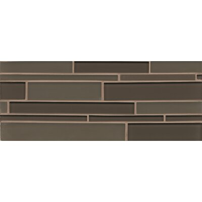 "Harbor Glass 6.3"" x 16"" Mosaic Mini Brick Gloss Tile in Mountain"