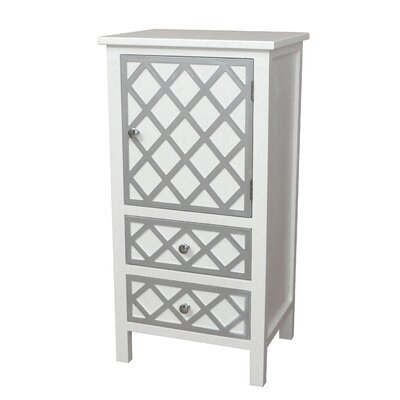 Trellis Drawer and 1 Door Accent Cabinet Color: Cream
