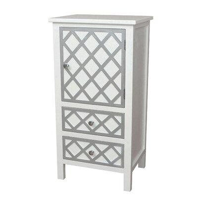 Trellis Drawer and 1 Door Accent Cabinet Color: Cream