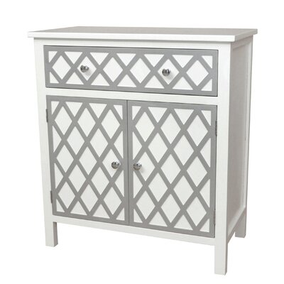 Trellis Cabinet 1 Drawer and 2 Door Accent Cabinet Color: Cream