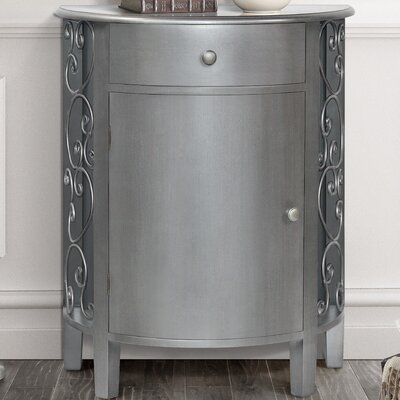 Sutton 1 Door 1 Drawer Accent Cabinet Color: Antique Silver