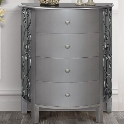 Sutton 4 Drawer Chest Color: Antique Silver