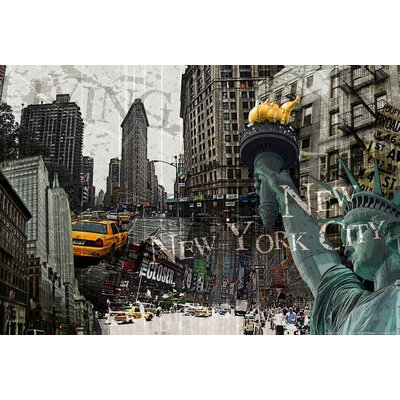 Innova New York Collage Vintage Advertisement on Canvas