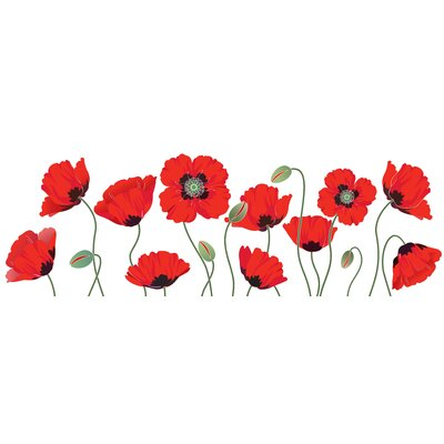 Innova Glass Red Poppies Graphic Tempered Glass Art