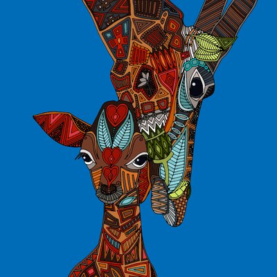 Innova Glass Giraffe Mother/Baby Collage Licensed Tempered Glass Graphic Art