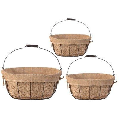 Derry's 3 Piece Hessian Lined Basket Set