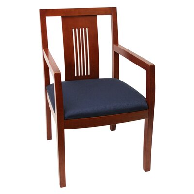 Preston Guest Chair Finish: Cherry, Fabric: Blue