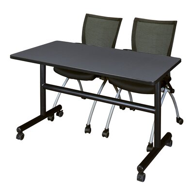 """Marin Training Table with Chairs Tabletop Finish: Gray/Black, Size: 29"""" H x 48"""" W x 24"""" D"""
