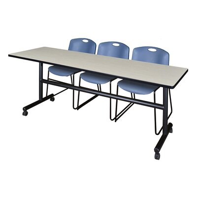 84'' W Marin Training Table with Chairs Tabletop Finish: Maple/Blue