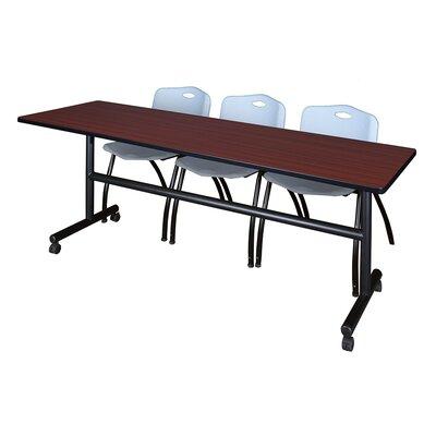 84'' W Marin Training Table with Chairs Tabletop Finish: Mahogany/Gray