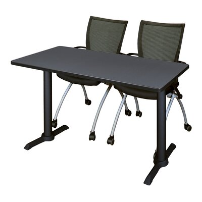 """Hendrix Training Table with Chairs Tabletop Finish: Gray, Size: 48"""" W x 24"""" D"""