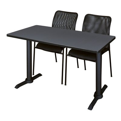 "Hendrix Training Table with Chairs Tabletop Finish: Mocha Walnut, Size: 48"" W x 24"" D"