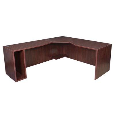 """Linh 71"""" Left Angle Shell Corner Desk Finish: Mahogany"""