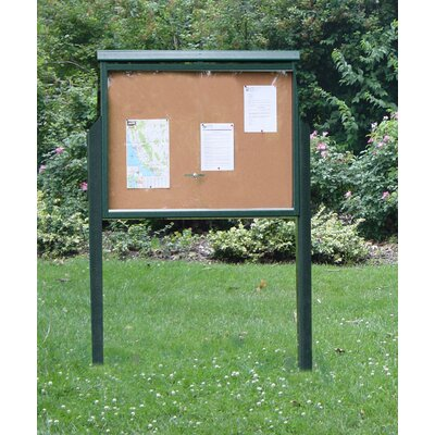 Recycled Plastic Message Center One Side Two Posts Color: Green