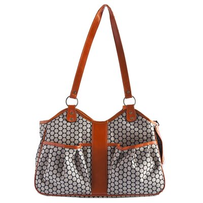 """Petote Metro Espresso Dot Pet Carrier with Leather Trim Leather Trim: Tangerine, Size: Large (11.5"""" H x 8.5"""" W x 20.5"""" L)"""