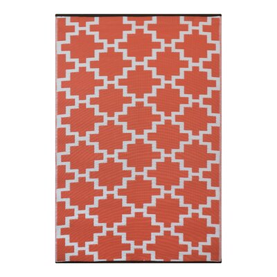 Green Decore Solitude Geometric Orange Indoor/Outdoor Area Rug
