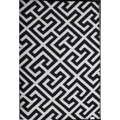 Green Decore Picket Fence Black/White Area Rug