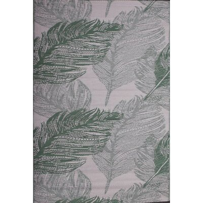 Green Decore Leaves Forest Green/Cream Indoor/Outdoor Area Rug