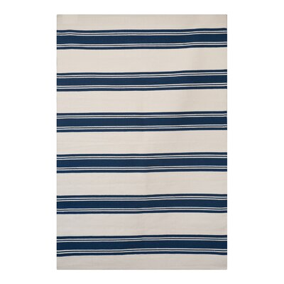 Green Decore Avenue Stripes Hand-Woven Navy/White Area Rug