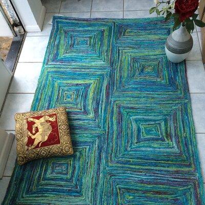 Green Decore Hand-Woven Hand-Woven Blue/Green Area Rug