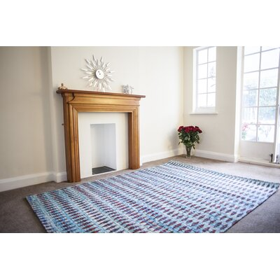 Green Decore Moroccan Hand-Woven Blue/Red Area Rug