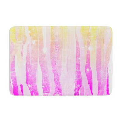 """Frederic Levy Hadida Jungle Stripes Painting Memory Foam Bath Rug Color: Pink, Size: 17""""W x 24""""L"""