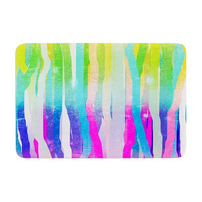 """Frederic Levy Hadida Jungle Stripes Painting Memory Foam Bath Rug Color: Pastel, Size: 17""""W x 24""""L"""