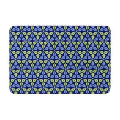 Nick Atkinson Infinite Flowers Memory Foam Bath Rug Color: Blue