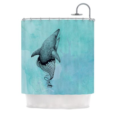 KESS InHouse Shark Record III Shower Curtain