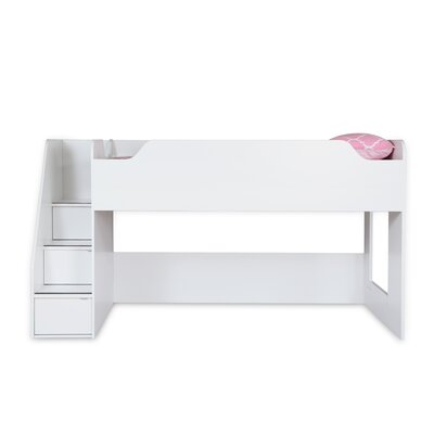 Mobby Loft Bed with Stairs Color: White