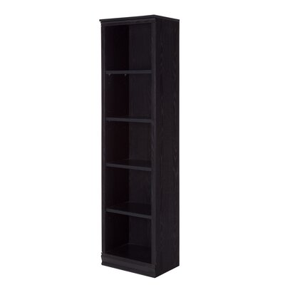 Morgan 5-Shelf Narrow Bookcase Color: Black Oak