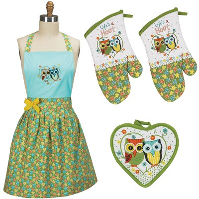 4 Piece Life's a Hoot Apron Set