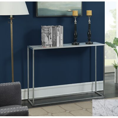 Theydon Faux Marble Console Table Table Top Color: Black, Table Base Color: White Faux Marble