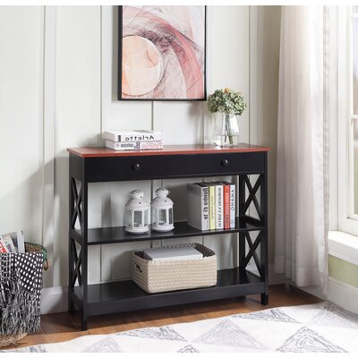 Gracelynn 1 Drawer Console Table Color: Cherry/Black