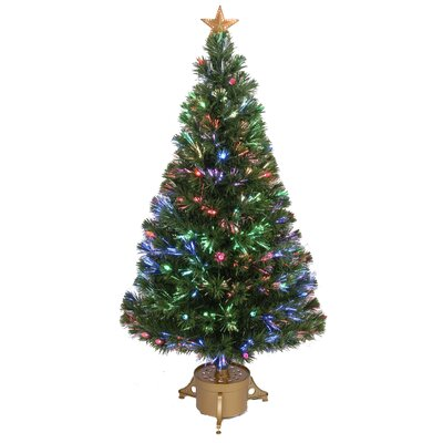 Jolly Workshop Fiber Optic 4' Green Artificial Christmas Tree with LED Muticolor Light with Stand