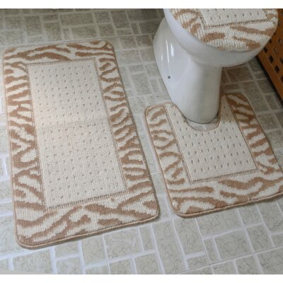 3 Piece Animal Rug Set Color: Taupe / Ivory