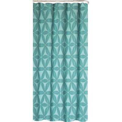Iris Fabric Shower Curtain Color: Aqua