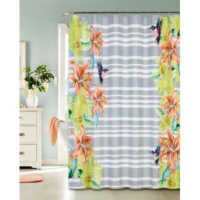 Printed Waffle Shower Curtian