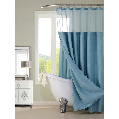 Widger Resort Waffle Shower Curtain Set Color: Aqua