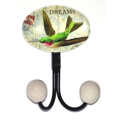Hummingbird Glass Inlay Double Hook