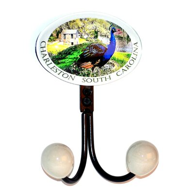 Charleston Peacock Glass Inlay Double Hook