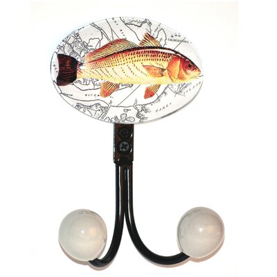 Charleston Fish Glass Inlay Double Hook